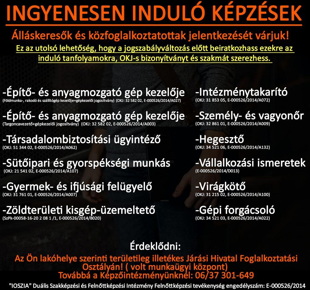Fejér megye - Ingyenes képzések - Felnőttképzés - felnottkepzes.hu - IOSZIA
